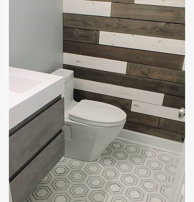 Marble hexagon mosaic bath floor
