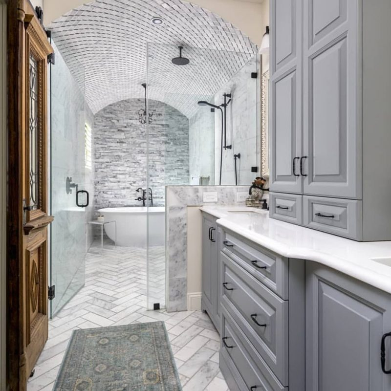 Turkish white carrara marble bathroom with all the bells and whistles