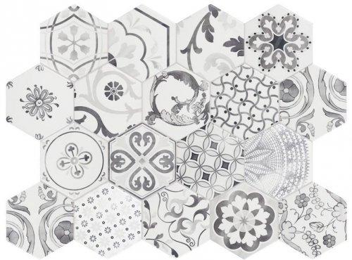 Decor Mix Bianco Hexagon Porcelain Tile