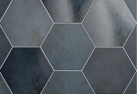 "7x8"" Hexagon Porcelain Tile - Indigo"