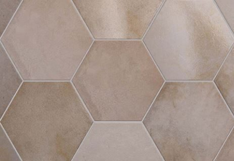 "7x8"" Hexagon Porcelain Tile - Rose"