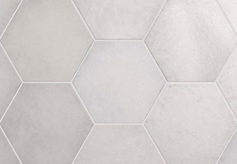 "7x8"" Hexagon Porcelain Tile - Snow"