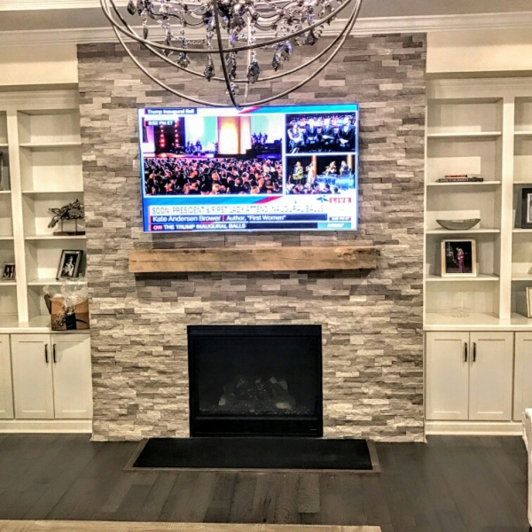 Wooden White/Athens Grey Marble Stacked Stone, splitface finish