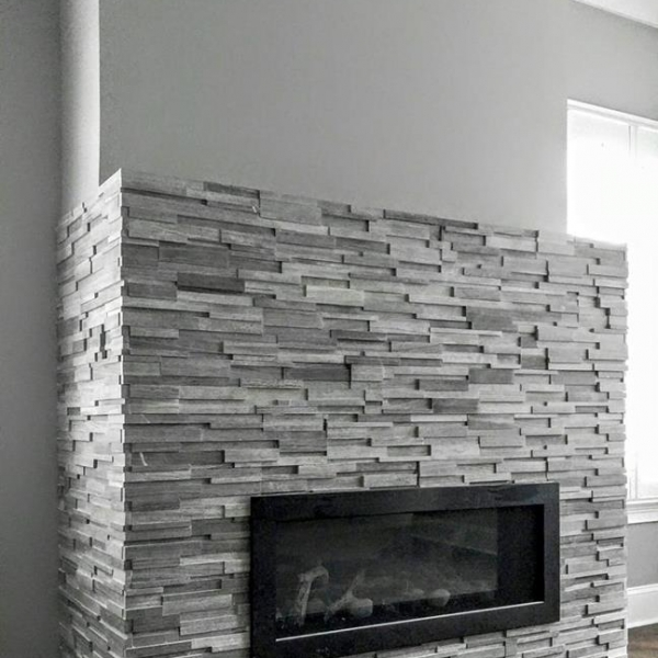 Wooden White/Athens Grey Marble Stacked Stone, honed finish