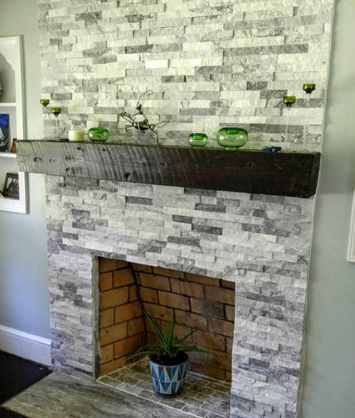 White and Grey Quartzite Stacked Stone fireplace