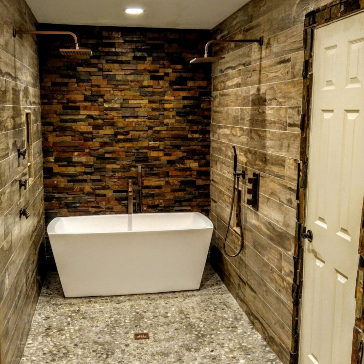 Rustic Bathroom with wood-look porcelain, pebbles, and slate stacked stone
