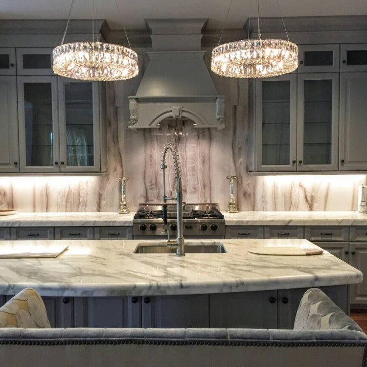 "24x48"" Opal Grey porcelain tile backsplash"