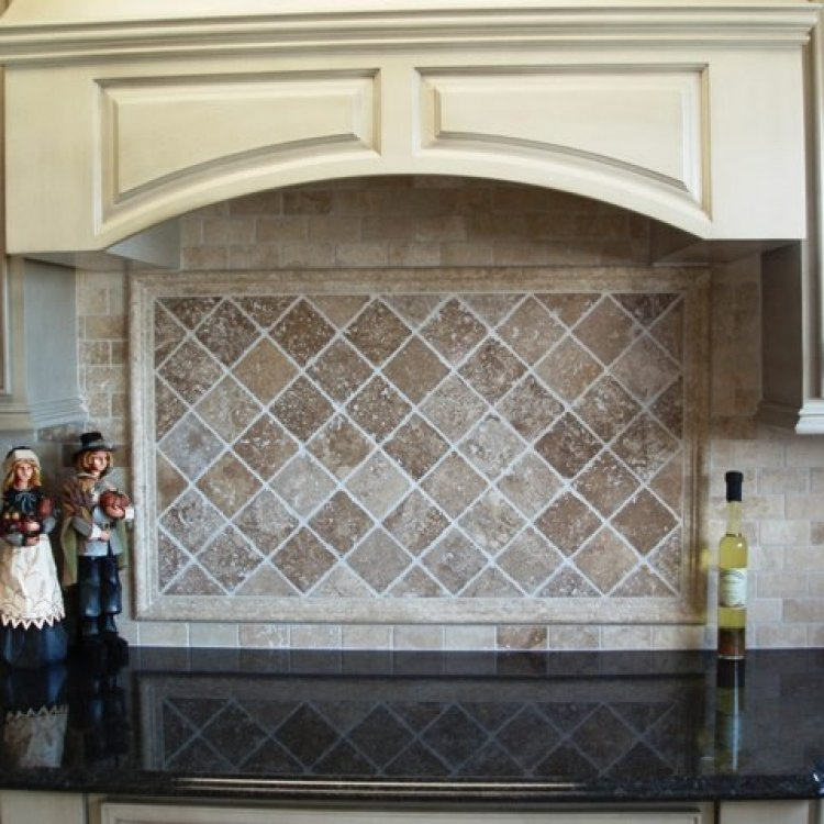 Ivory and Walnut Travertine Backsplash
