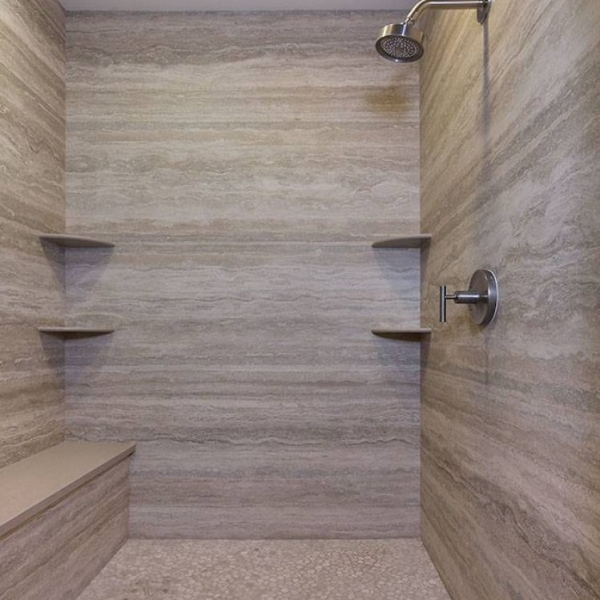 Vein Cut Travertine and Grey Oak Pebbles