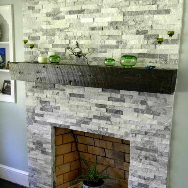 White and Gray Stacked Stone Fire Place