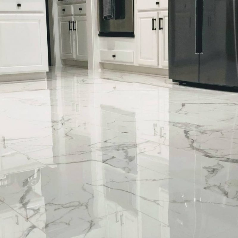 Polished marble look porcelain with an anti-slip finish