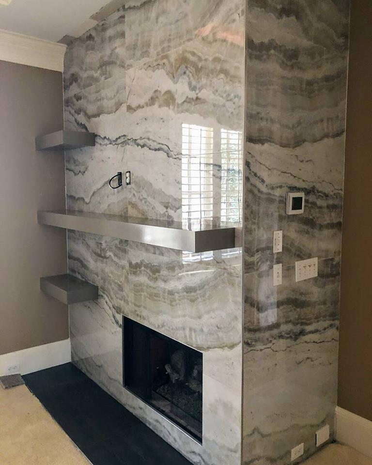 "24x48"" Onyx Porcelain Tile Fireplace"