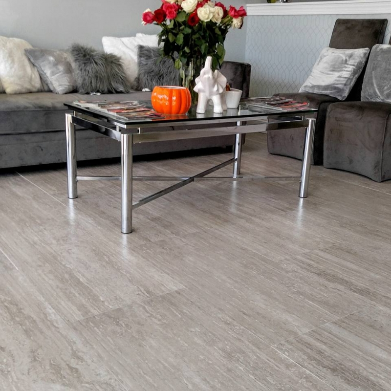 "18x36"" Silver Travertine Porcelain Tile"