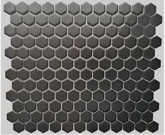 1 Buckhead Black Matte Porcelain Hexagon Mosaic