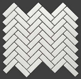 1x3 Buckhead White Glossy Porcelain Herringbone