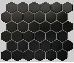 2 Buckhead Black Matte Porcelain Hexagon Mosaic