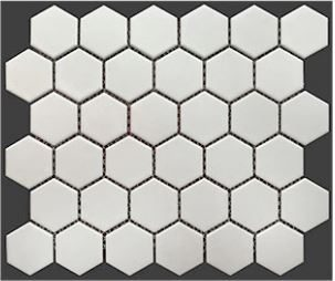 2 Buckhead White Matte Porcelain Hexagon Mosaic