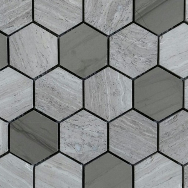 Wooden White Athens Grey Hexagon