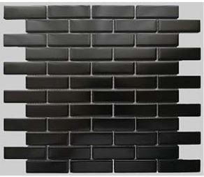 Buckhead Black Matte Porcelain Brick Mosaic