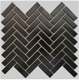 Buckhead Black Matte Porcelain Herringbone Mosaic