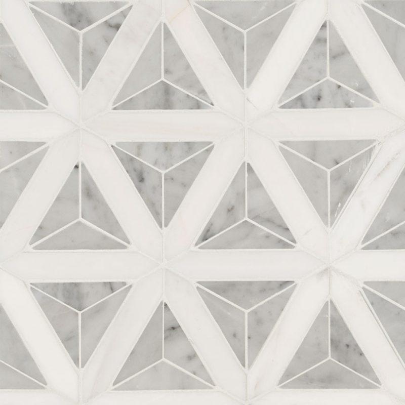 Geometric Carrara White Polished
