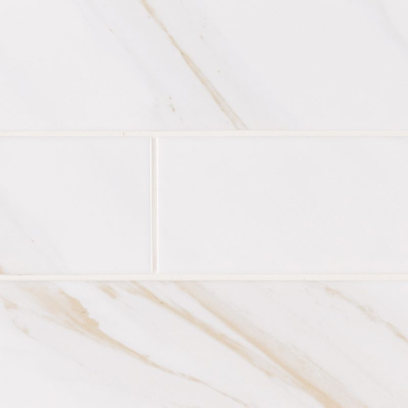 4x16 Classic White Calacatta Ceramic Subway