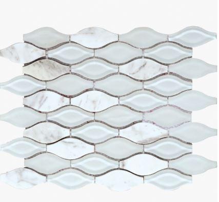 White Vase Waterjet Cut Mosaic