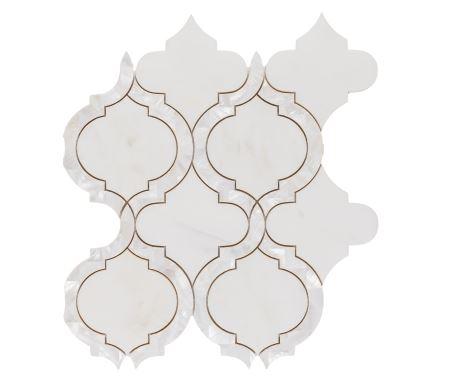 Alice Pearl Thassos Waterjet Cut Mosaic