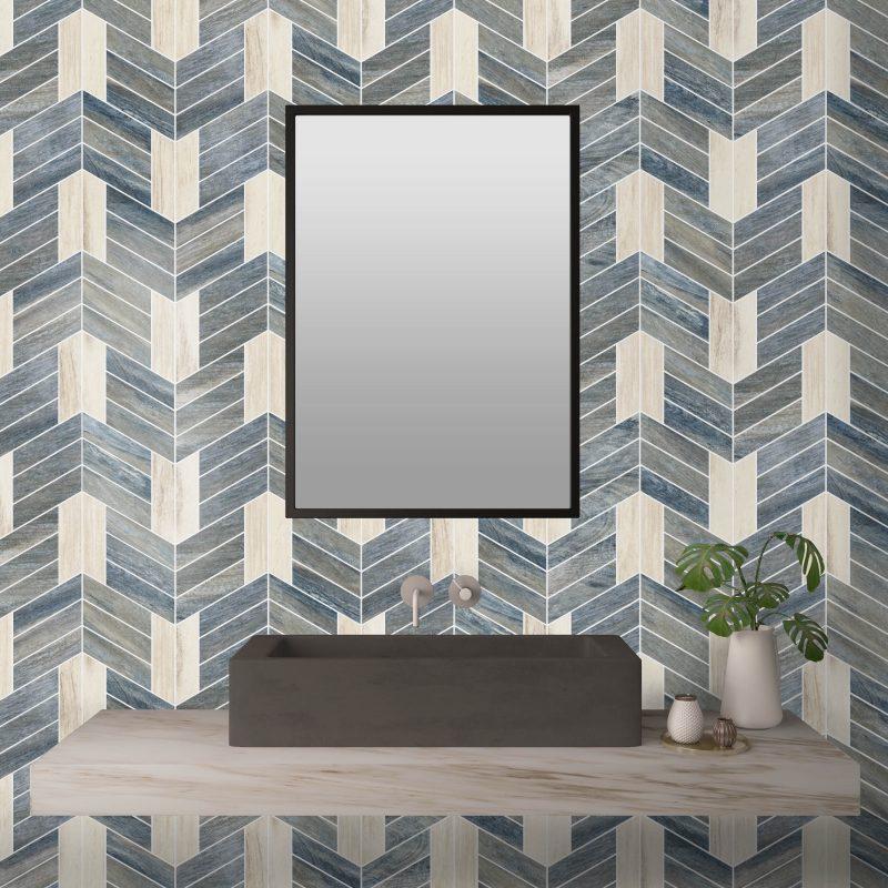 Chevron Johnathon Blue and White Porcelain Mosaic