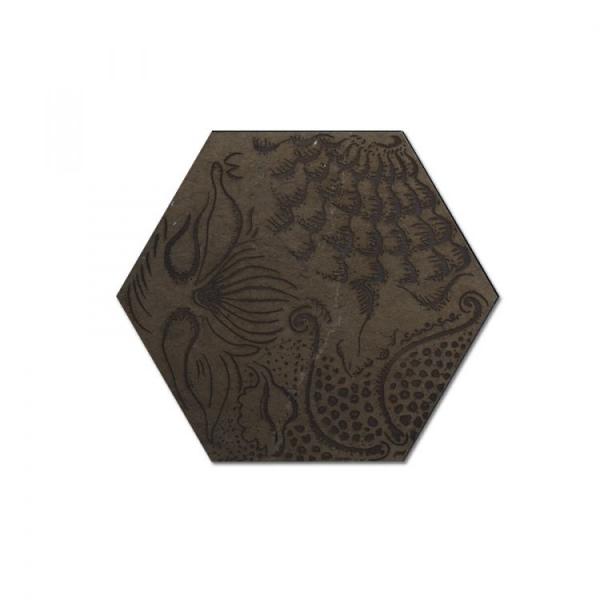 Engraved Hexagon Gray Waterjet Cut Mosaic