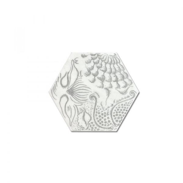 Engraved Hexagon White