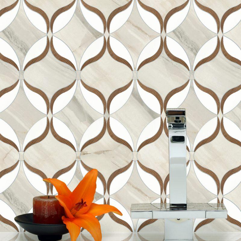 Oriental Waterjet Cut Porcelain Mosaic