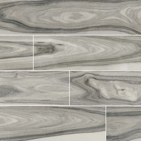 8x48 Polished Grey Wood Look Porcelain Tile