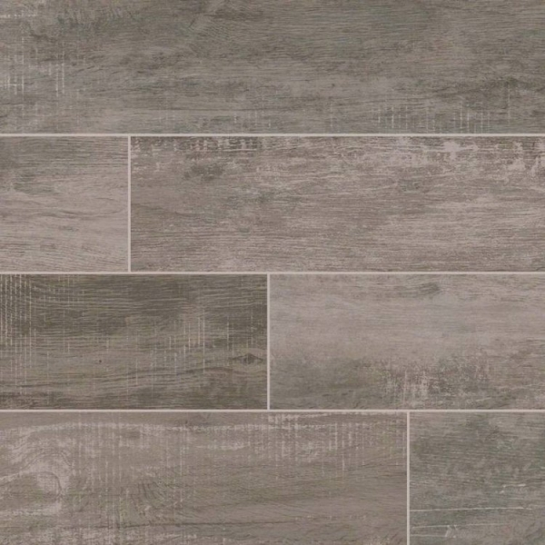 6x40 Grey Ash Wood Look Porcelain Tile