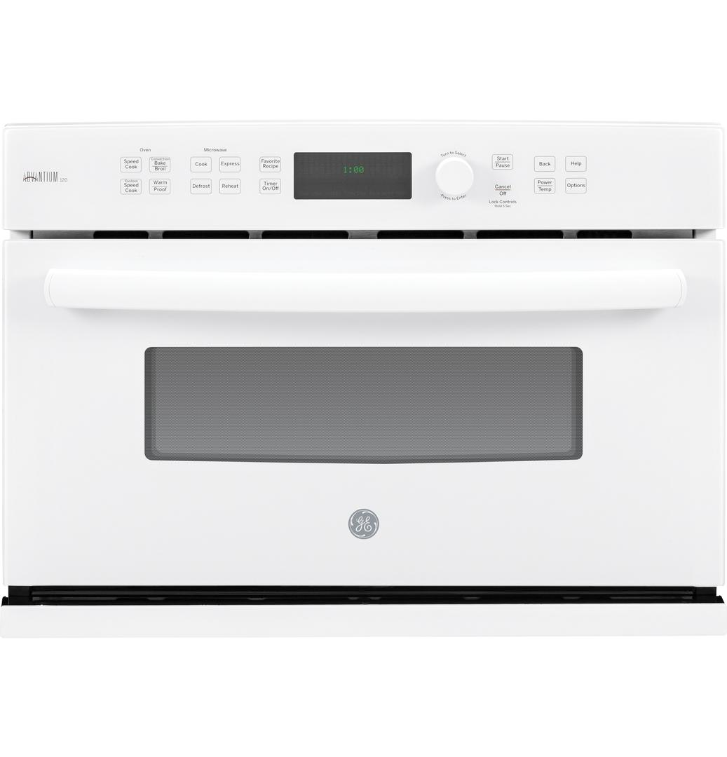 GE 27 Inch White Electric Single Wall Convection Speed Oven