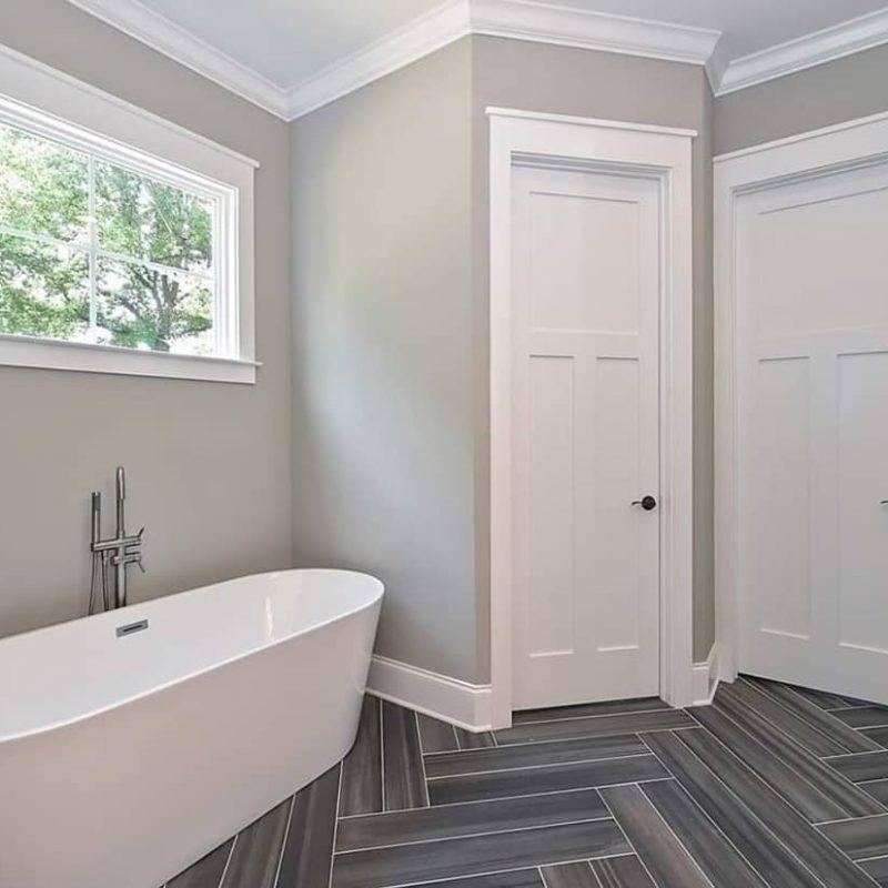 "6x36"" Plank porcelain tile laid in a double herringbone pattern"