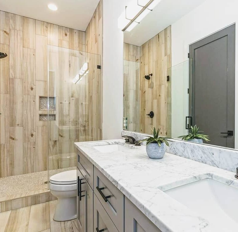 Wood look tile shower and bath floor