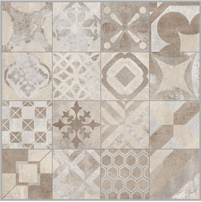 24x24 Cementine Biege Pattern Decor