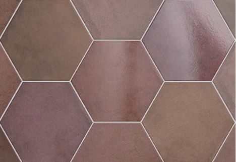 "7x8"" Hexagon Porcelain Tile - Wine"