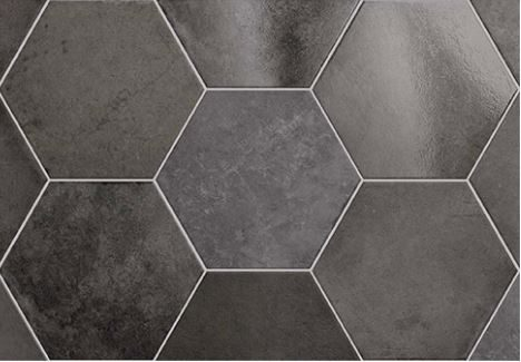 "7x8"" Hexagon Porcelain Tile - Carbon"