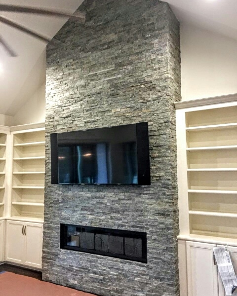 Green Quartzite Stacked Stone fireplace