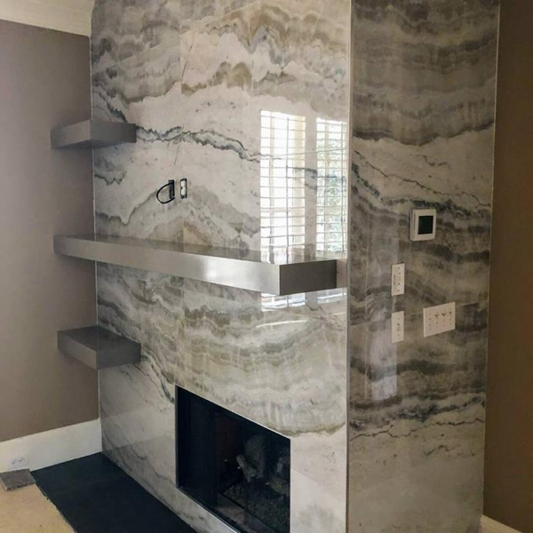 "24x48"" Onyx Porcelain Tile fireplace"