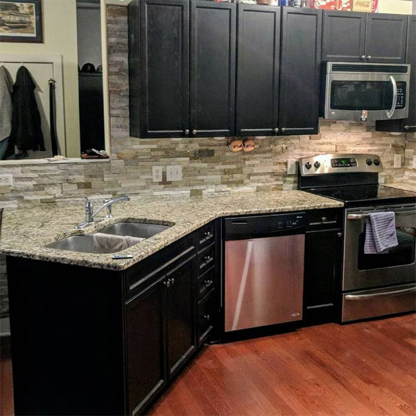 Stacked stone backsplash
