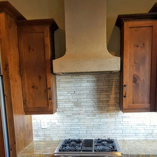 Travertine strips backsplash