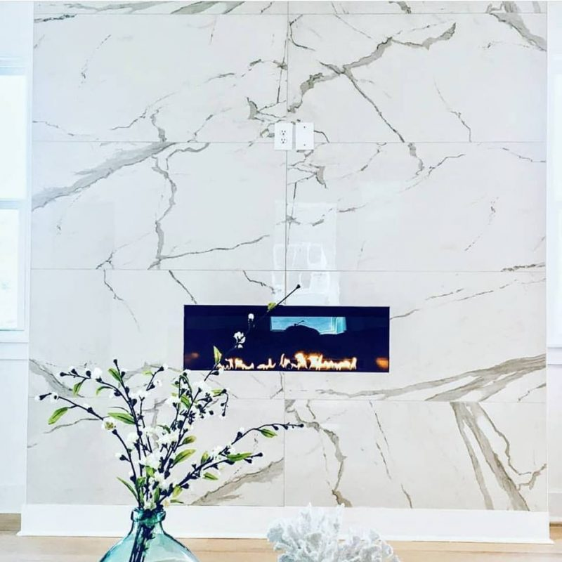 "24x48"" Porcelain tile fireplace"