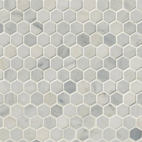 Arabescato-Carrara-1inch-Hexagon-Honed