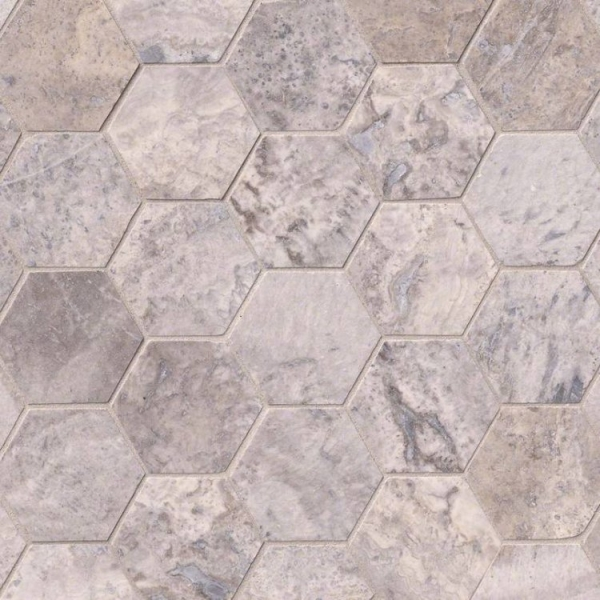 Silver-Travertine-3inch-Hexagon-Honed