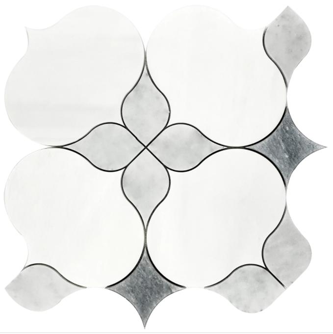 Allora Dolomite Marble Waterjet Mosaic w/Bianco Gioia Honed