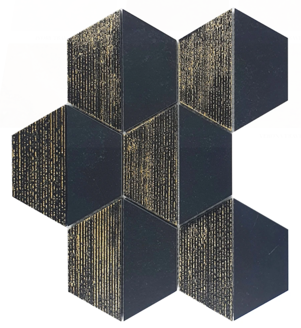 "Chateau Black 4"" Hexagon Marble Mosaic Honed Engraved Gold Leaf"