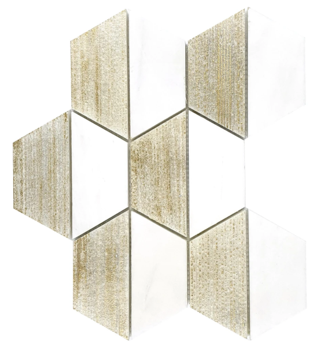 "Chateau Dolomite 4"" Hexagon Marble Mosaic Honed Engraved Gold Leaf"